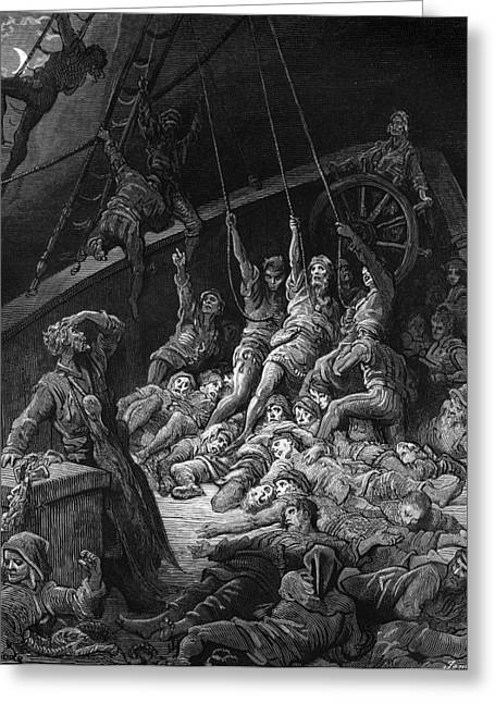 Voyage Drawings Greeting Cards - The dead sailors rise up and start to work the ropes of the ship so that it begins to move Greeting Card by Gustave Dore