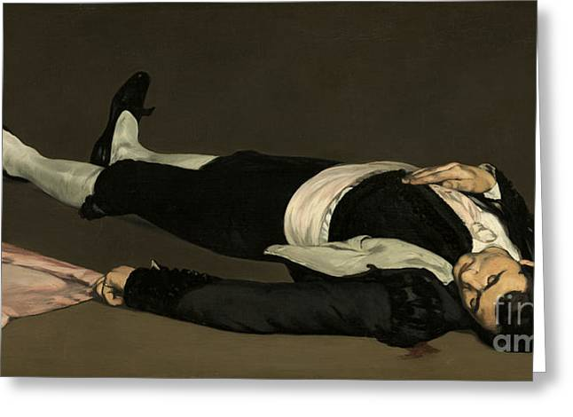 The Dead Toreador Greeting Card by Edouard Manet