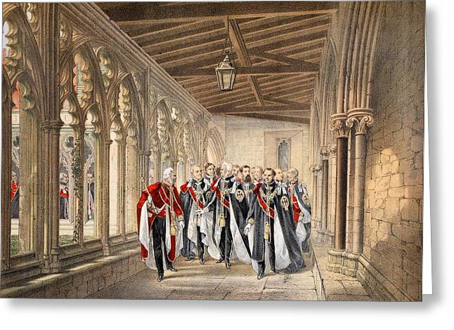 Cloister Greeting Cards - The Deans Cloister, Windsor, 10th Greeting Card by English School