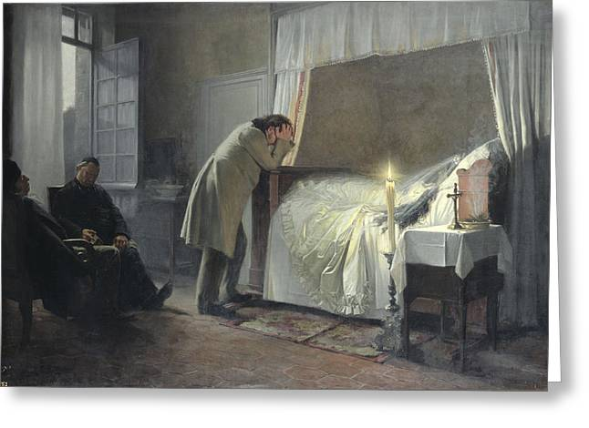 Gustave Photographs Greeting Cards - The Death Bed Of Madame Bovary, Before 1889 Oil On Canvas Greeting Card by Albert-Auguste Fourie