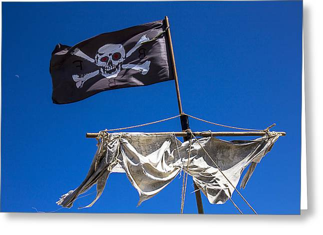 Black Flag Greeting Cards - The death flag Greeting Card by Garry Gay