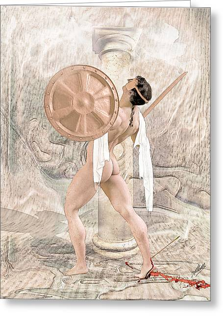 Muscular Digital Art Greeting Cards - The death of Achilles. Greeting Card by Joaquin Abella