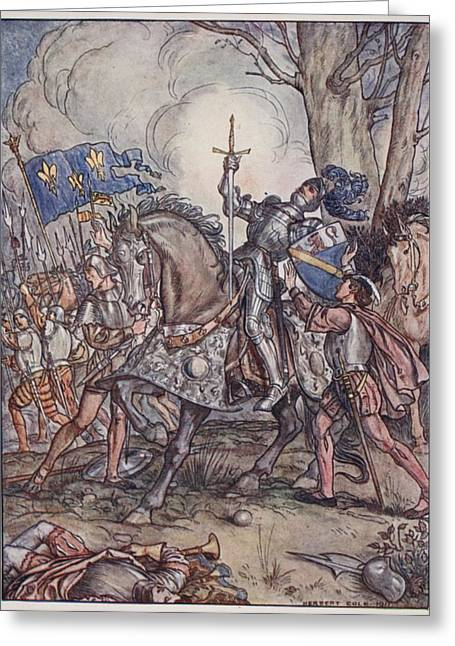 Knighting Drawings Greeting Cards - The Death Of Bayard, Illustration Greeting Card by Herbert Cole
