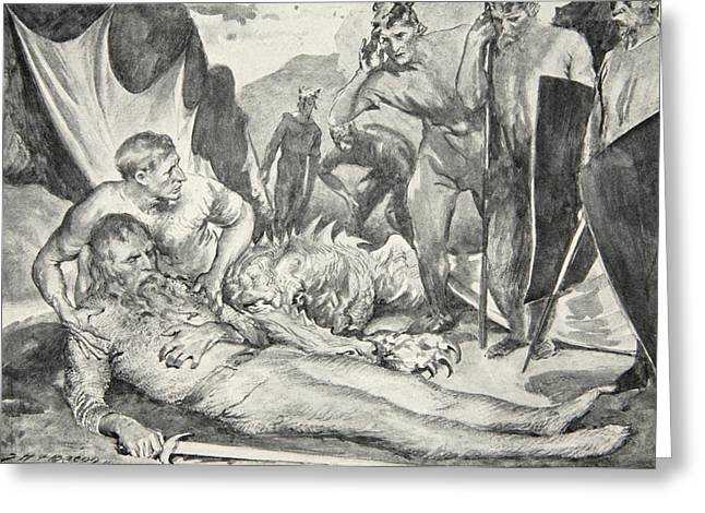 Wounded Greeting Cards - The Death of Beowulf Greeting Card by John Henry Frederick Bacon