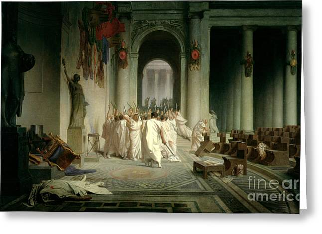 1867 Greeting Cards - The Death of Caesar Greeting Card by Jean Leon Gerome