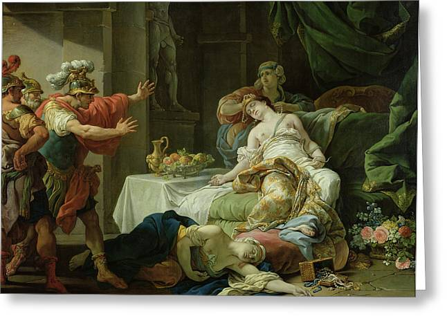 Commit Greeting Cards - The Death Of Cleopatra, 1755 Oil On Canvas Greeting Card by Louis Jean Francois I Lagrenee