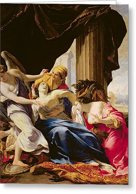 Commit Greeting Cards - The Death Of Dido, 1642-43 Oil On Canvas Greeting Card by Simon Vouet