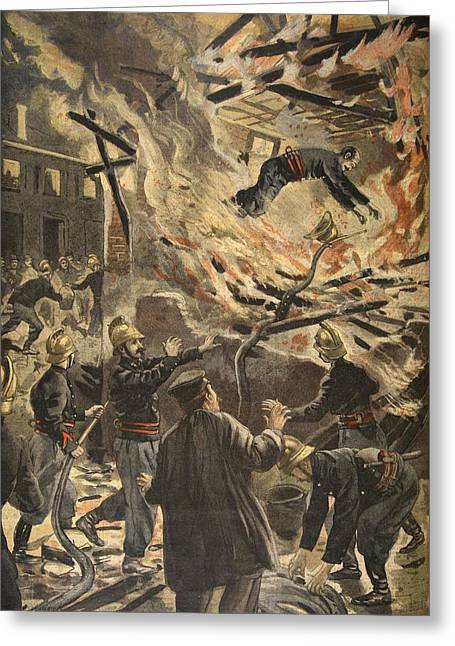 Rescue Drawings Greeting Cards - The Death Of Fireman Bailly In Bourges Greeting Card by F.L. & Tofani, Oswaldo Meaulle