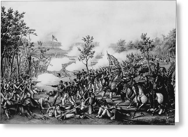 Civil Greeting Cards - The Death Of General James B. Mcpherson At The Battle Of Atlanta, July 22nd, 1864, Pub. By Kurz & Greeting Card by American School