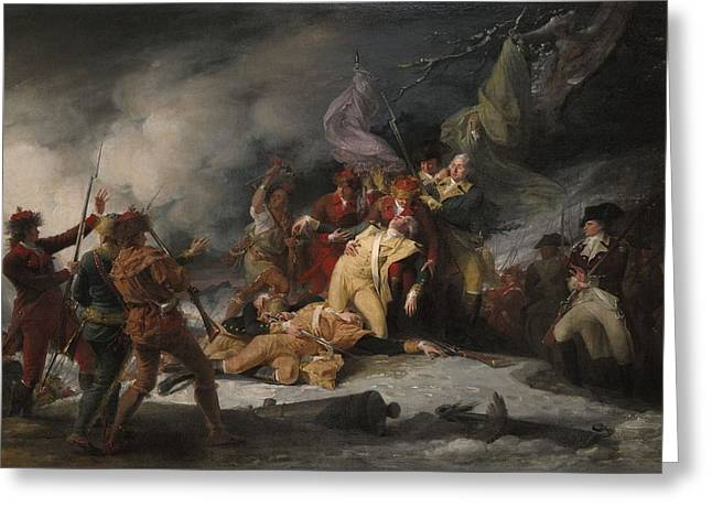 Wounded Greeting Cards - The Death Of General Montgomery In The Attack On Quebec, December 31, 1775, 1786 Oil On Canvas Greeting Card by John Trumbull