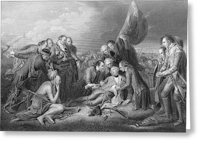 Seven Years War Greeting Cards - The Death Of General Wolfe, 1759, From The History Of The United States, Vol. I, By Charles Mackay Greeting Card by Benjamin West