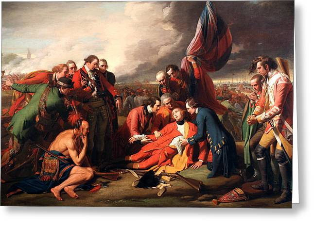 Native American Heroes Greeting Cards - The Death of General Wolfe Greeting Card by Benjamin West