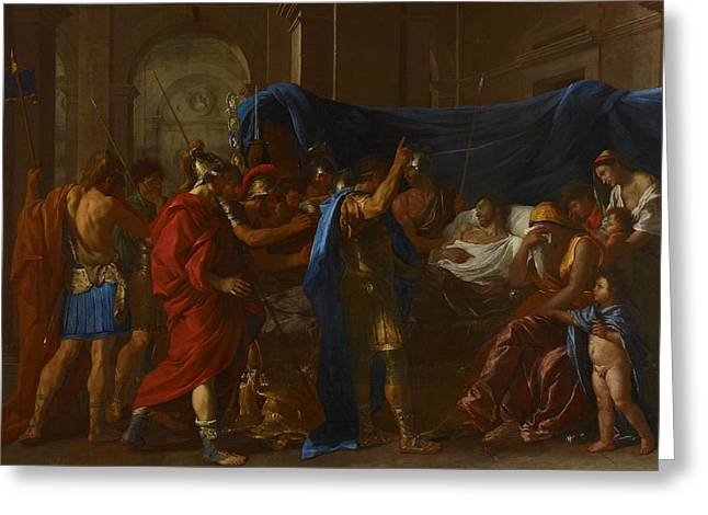Poussin Greeting Cards - The Death of Germanicus Greeting Card by Nicolas Poussin