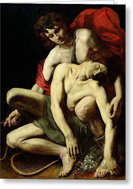 Dripping Paintings Greeting Cards - The Death of Hyacinthus  Greeting Card by Italian School