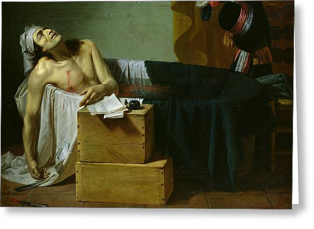 Assassination Greeting Cards - The Death Of Marat, 1793 Oil On Canvas Greeting Card by Joseph Roques