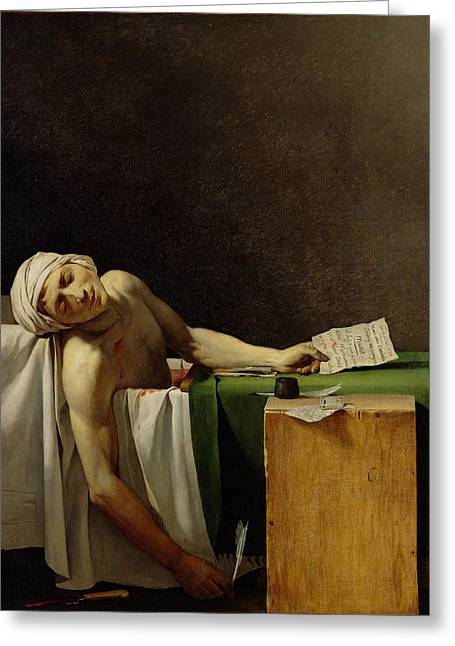 Journalist Greeting Cards - The Death Of Marat, After The Original By Jacques-louis David 1748-1825 Oil On Canvas Greeting Card by Jerome Martin Langlois