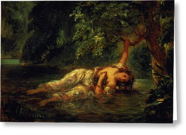 The Death Of Ophelia, 1844 Greeting Card by Ferdinand Victor Eugene Delacroix