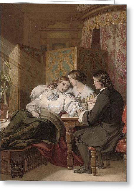 Death Of Waters Greeting Cards - The Death of Rochester Greeting Card by Alfred Thomas Derby