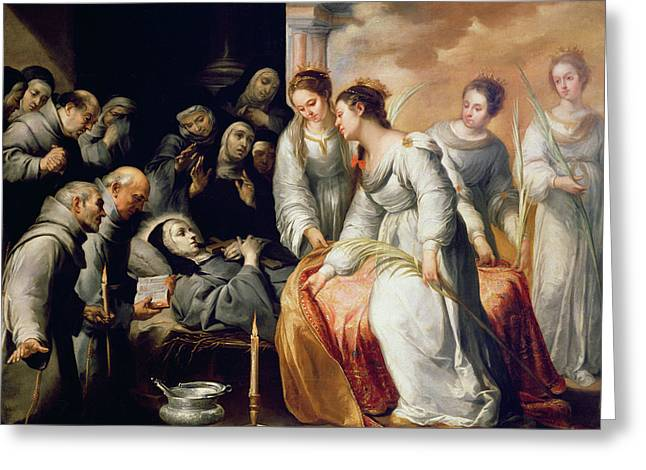 Clare Greeting Cards - The Death of Saint Clare Greeting Card by Bartolome Esteban Murillo