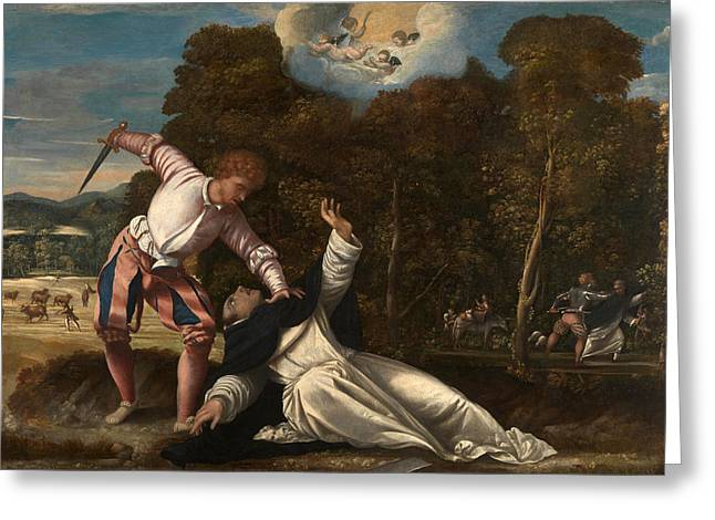 Martyr Greeting Cards - The Death of Saint Peter Martyr Greeting Card by Bernardino da Asola