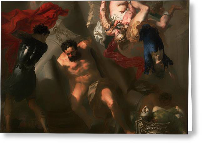 Religious work Paintings Greeting Cards - The Death of Samson Greeting Card by Unknown
