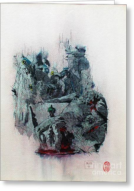 Statesman Mixed Media Greeting Cards - The death of Seneca Greeting Card by Roberto Prusso
