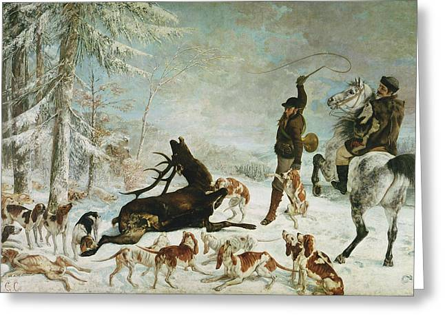 Attack Dog Greeting Cards - The Death Of The Deer, 1867 Oil On Canvas Greeting Card by Gustave Courbet