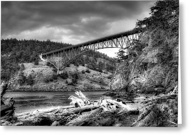 Deception Beach Greeting Cards - The Deception Pass Bridge II BW Greeting Card by David Patterson