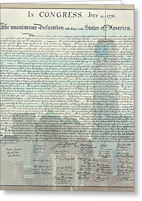 Ground Zero Greeting Cards - The Declaration of Independence - Freedom Tower Greeting Card by Stephen Stookey