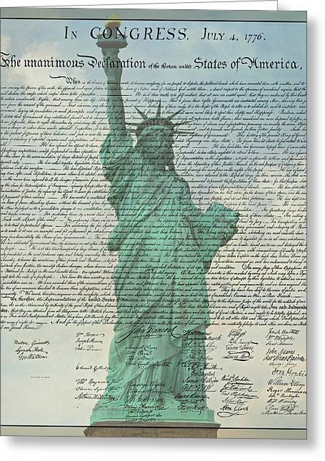 4th July Greeting Cards - The Declaration of Independence - Statue of Liberty Greeting Card by Stephen Stookey