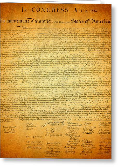 .freedom Mixed Media Greeting Cards - The Declaration of Independence - Americas Founding Document Greeting Card by Design Turnpike