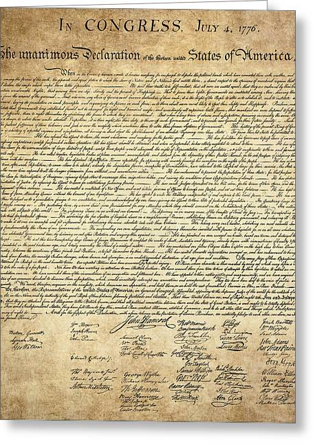 Tyrannies Greeting Cards - The DECLARATION of INDEPENDENCE Greeting Card by Daniel Hagerman