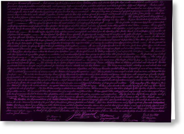 THE DECLARATION OF INDEPENDENCE in NEGATIVE PURPLE Greeting Card by ROB HANS