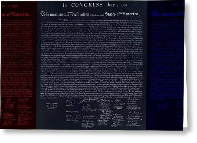 4th July Digital Art Greeting Cards - THE DECLARATION OF INDEPENDENCE in NEGATIVE RED WHITE AND BLUE Greeting Card by Rob Hans