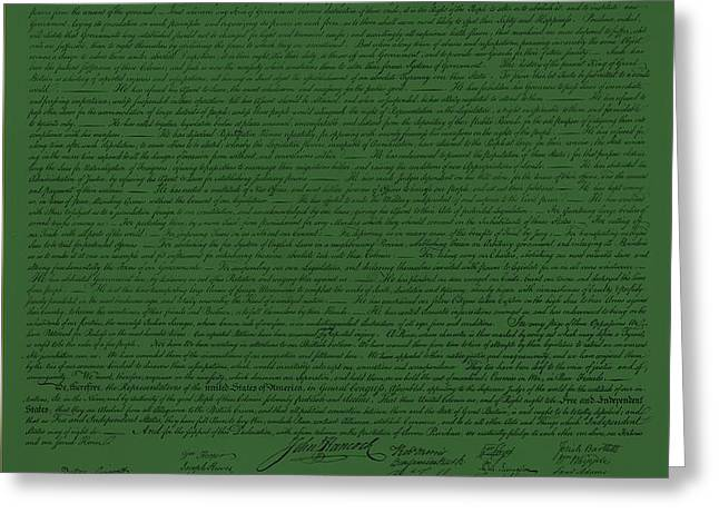 THE DECLARATION OF INDEPENDENCE in OLIVE Greeting Card by ROB HANS