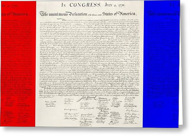 4th July Greeting Cards - THE DECLARATION OF INDEPENDENCE in RED WHITE AND BLUE Greeting Card by Rob Hans