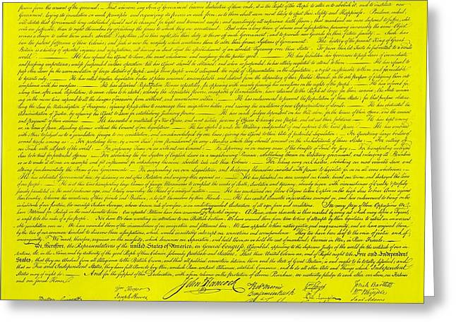 THE DECLARATION OF INDEPENDENCE in YELLOW Greeting Card by ROB HANS
