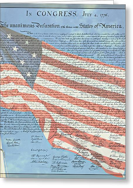 4th July Photographs Greeting Cards - The Declaration of Independence - Star-Spangled Banner Greeting Card by Stephen Stookey