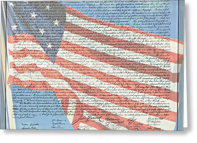 4th July Greeting Cards - The Declaration of Independence - Star-Spangled Banner Greeting Card by Stephen Stookey