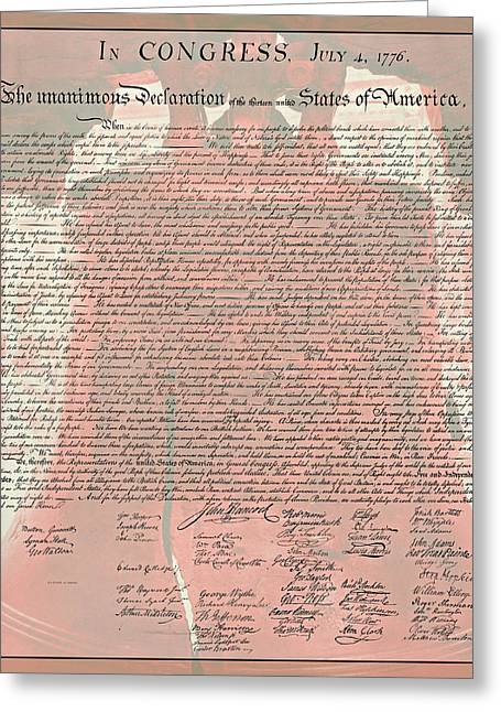 4th July Greeting Cards - The Declaration of Independence Greeting Card by Stephen Stookey