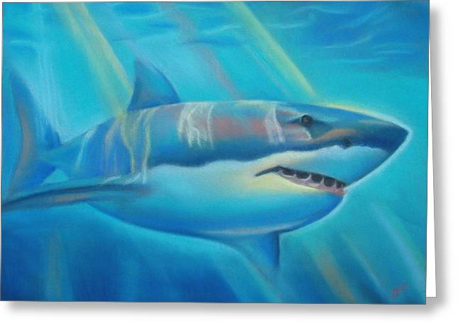 White Shark Pastels Greeting Cards - The Deep Greeting Card by Joanna Gates
