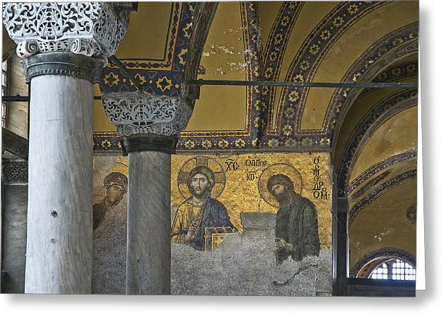 Pantocrator Greeting Cards - The Deesis mosaic at Hagia Sophia Greeting Card by Ayhan Altun