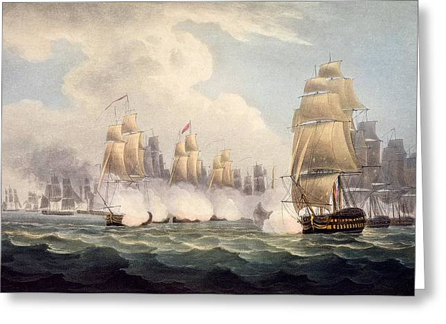 Battle Ship Greeting Cards - The Defeat Of The French Under Linois Greeting Card by English School