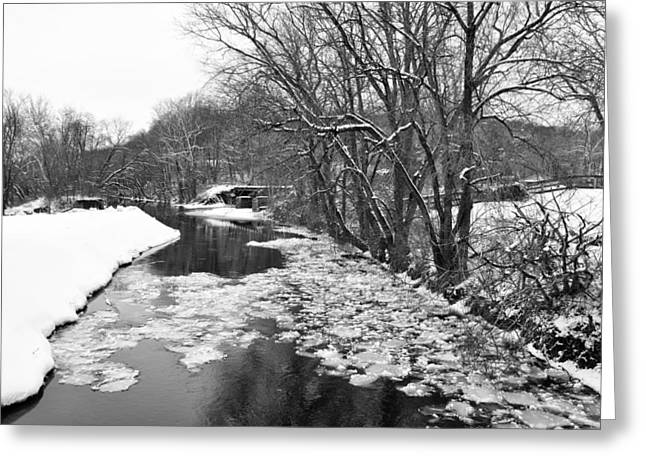 Stockton Digital Art Greeting Cards - The Delaware Canal in Winter - Stockton New Jersey Greeting Card by Bill Cannon