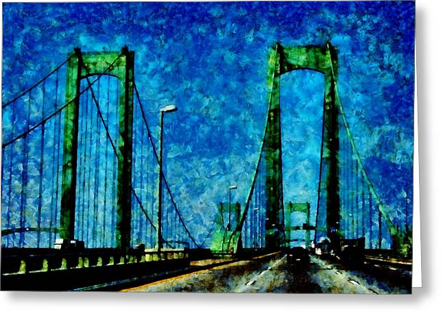The Delaware Memorial Bridge Greeting Card by Angelina Vick