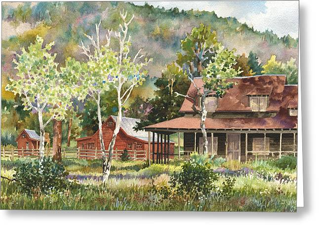 Old Barns Greeting Cards - The DeLonde Homestead at Caribou Ranch Greeting Card by Anne Gifford