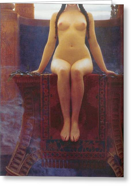 Long Hair Digital Greeting Cards - The Delphic Oracle Greeting Card by John William Godward