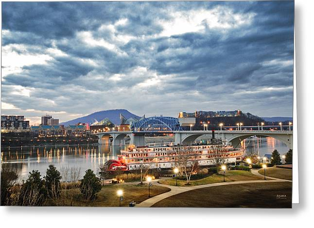 The Delta Queen And Coolidge Park At Dusk Greeting Card by Steven Llorca