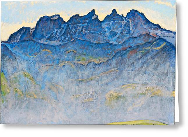 Midi Greeting Cards - The Dents du Midi Greeting Card by Ferdinand Hodler