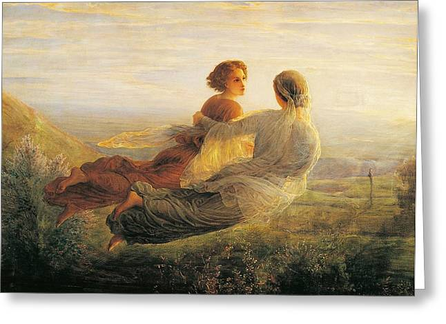 Flying Angel Greeting Cards - The departure of the soul Greeting Card by Louis Janmot